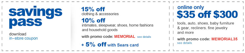 Savings pass in-store coupon and online discounts.